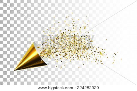Golden party popper with exploding confetti particles isolated on white background. Vector holiday illustration. Glossy paper cone with sparkling confetti particles. Festive or magic decoration.