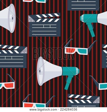 Seamless pattern. icons for the film industry, magazines and websites about cinema. Movie clapper, 3D glasses, megaphone, loudspeaker. Characters movie.Vector illustration.
