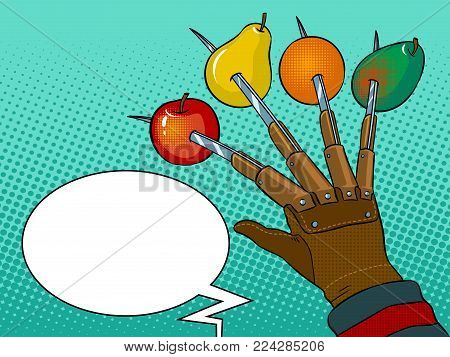 Fruits are strung on blades of hand pop art retro vector illustration. Horror metaphor. Text bubble. Color background. Comic book style imitation.