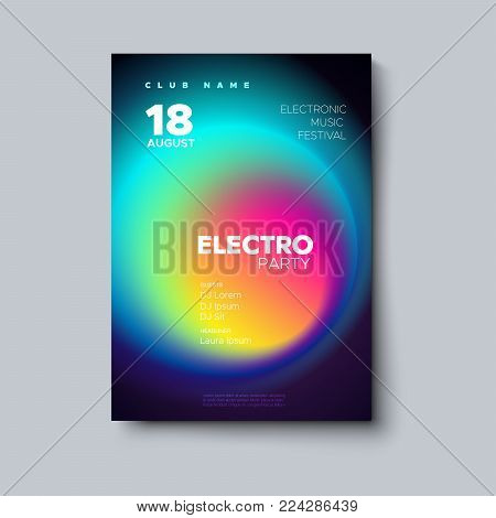 Electronic music festival poster. Electro dj party flyer. Fluid neon blended color cover. Vector illustration of abstract gradient liquid shape. Club invitation. Modern design. Abstract sound wave