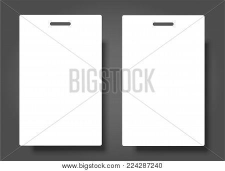 Two Blank Name Tags Mockup. Vector Illustration of Identity Card Badge mockup cover template