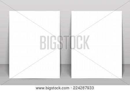 Two Blank poster bi fold brochure mockup cover template.