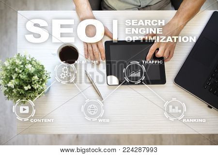 SEO. Search Engine optimization. Digital online marketing andInetrmet technology concept