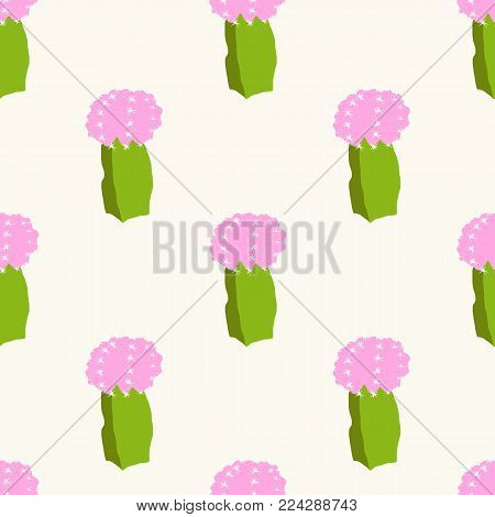 Seamless vector pattern with cactus and flower. Cute succulent cacti background