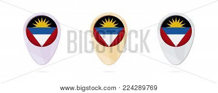 Map markers with flag of Antigua and Barbuda, 3 color versions.
