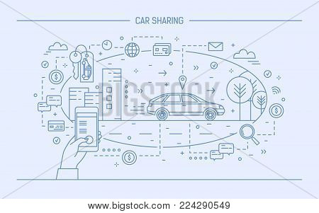 Hand holding mobile phone and automobile on city street. Concept of car sharing and electronic rental service or carsharing application. Monochrome vector illustration drawn with blue contour lines