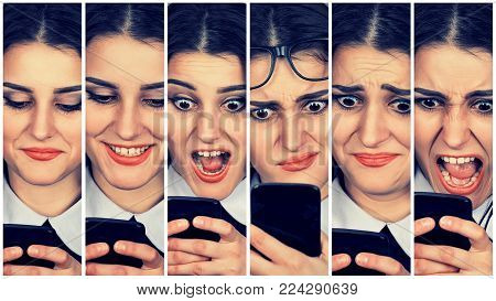 Woman using smart phone changing emotions and feelings