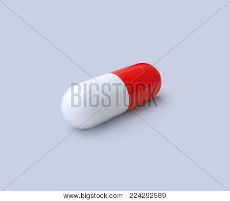 Medicine antibiotic, painkiller pill. Vector realistic healthcare illustration. Birth control or vitamin 3d capsule. Pharmaceutical biotechnology concept. Pharmacy product mockup. Dual color tablet