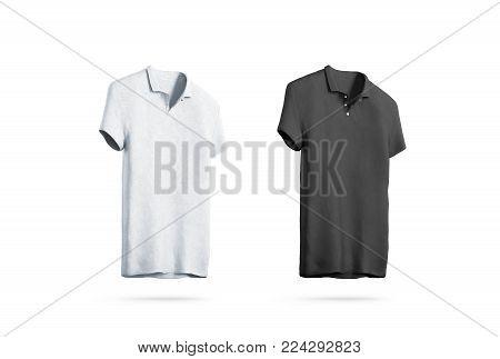 Blank black and white polo shirt mockup isolated, front side view, 3d rendering. Empty sport t-shirt uniform mock up.