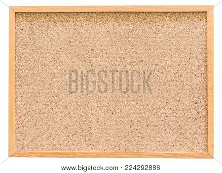 Wooden cork board isolated on white background