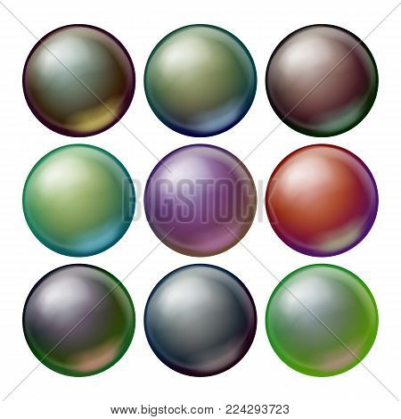 Dark Sphere Set Vector. Opaque Spheres With Shadows. Abstract Dark Ellipse, Ball, Bubble, Button, Badge. Isolated Illustration