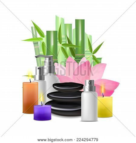 Realistic Detailed Spa Asian Style Concept Card Poster Salon Therapy Relax Care Health . Vector illustration