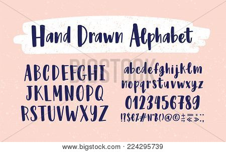 Stylish hand drawn english alphabet. Collection of upper and lower case letters arranged in alphabetical order, figures and symbols handwritten with calligraphic font. Modern vector illustration