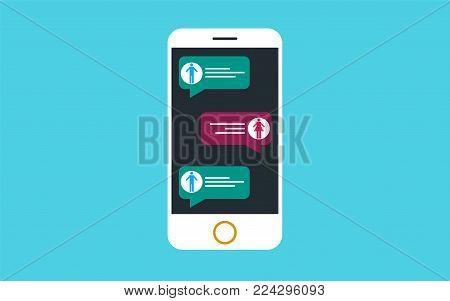 Mobile phone chat message sending messages to friends via social app.
