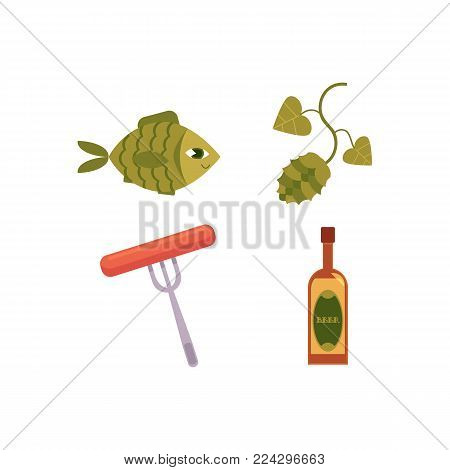 Vector cartoon beer symbols icon set. Glass bottle of golden lager cool beer, green hop cones with leaves, sausage at fork, dried fish - beer snacks. Isolated illustration, white background