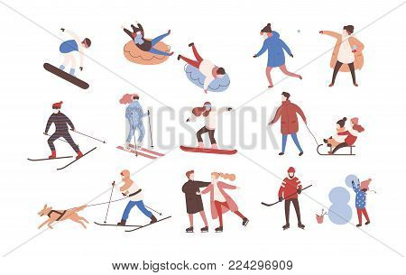 Collection of male and female cartoon characters performing winter activities. Set of men and women dressed in outerwear skiing, ice skating, snowboarding, playing hockey. Flat vector illustration