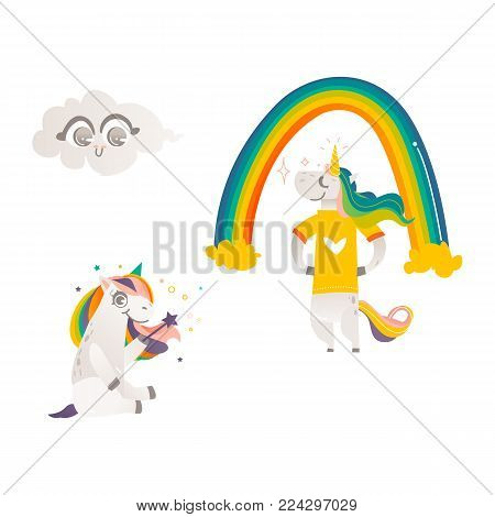 Vector cartoon stylized unicorn character standing in tshirt , rainbow, cloud with face emotions, unicorn sitting with magic wand. Fairy mysterious creature, isolated illustration white background