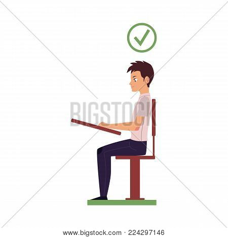 Correct neck and spine alignment of young cartoon man character sitting at desk writing. healthy head bending positions, inclination of neck. Spine care concept. Vector isolated illustration