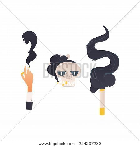 Vector flat danger, harm risk of smoking concept icon. Smoking skull in glasses, glowing cigarette, hand holding cigarette. Nicotine addiction, cancer disease, social advertisement design illustration
