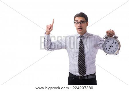 Young businessman in time management concept on white background