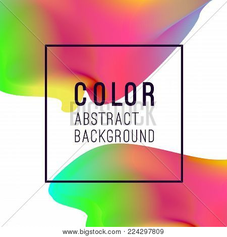 Abstract vibrant background design. Neon colors and bright colorful splashes. Multicolored shapes. Spectrum fluids and liquid. Vector illustration. EPS 10.
