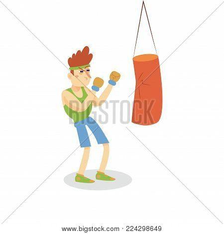 Boxer hitting a punching bag, man working out in fitness club or gym, active healthy lifestyle cartoon vector Illustration on a white background