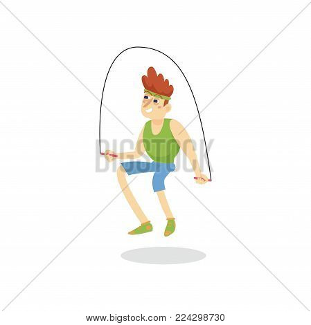 Young man skipping with jump rope, man working out in fitness club or gym, active healthy lifestyle cartoon vector Illustration on a white background