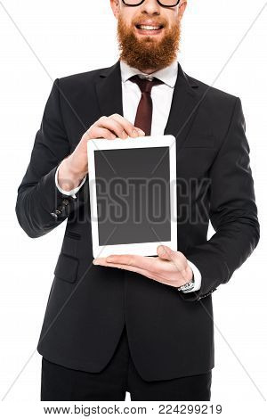 cropped shot of bearded businessman holding digital tablet with blank screen isolated on white