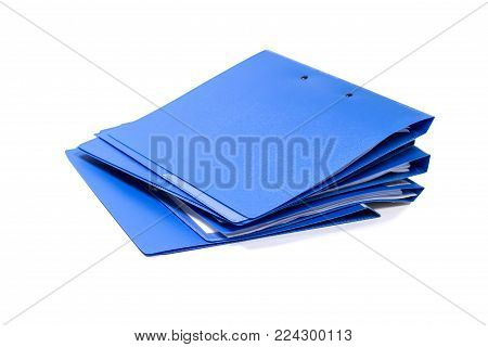 Blue file folder and Stack of business report paper file isolated with white background.