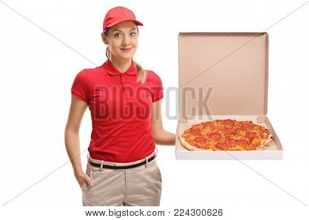 Pizza delivery girl holding a pizza box isolated on white background