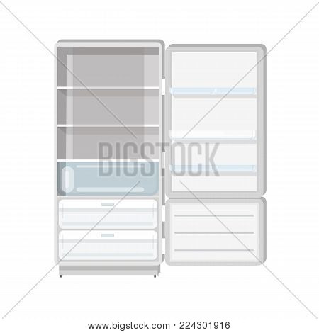 Empty refrigerator with opened door, shelves and trays isolated on white background. Fridge with freezer. Household or kitchen appliance for food cooling and storage. Flat vector illustration