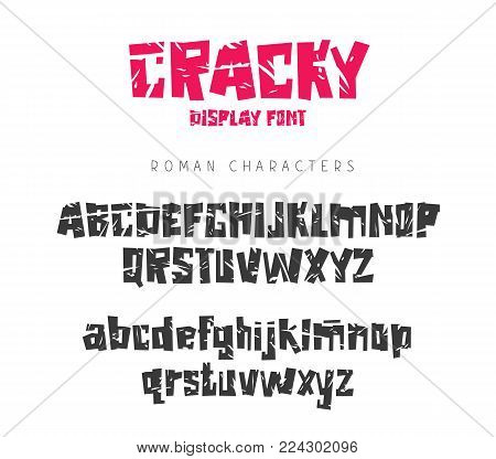 Vector torn font with sharp edges. Lettering, typography. English alphabet. Elements for design.