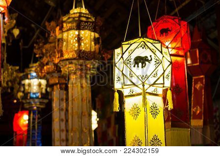 Hanging Lantern in Thai temple and Thai Home. Made from bamboo paper, Thai Lanna style in northern Thai style lanterns