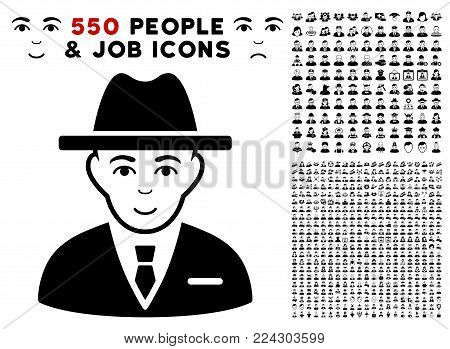 Agent pictograph with 550 bonus sad and happy men images. Vector illustration style is flat black iconic symbols.