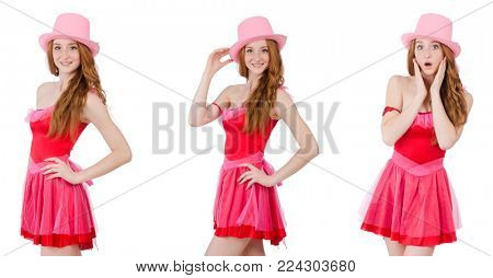 Pretty young wizard in mini pink dress isolated on white