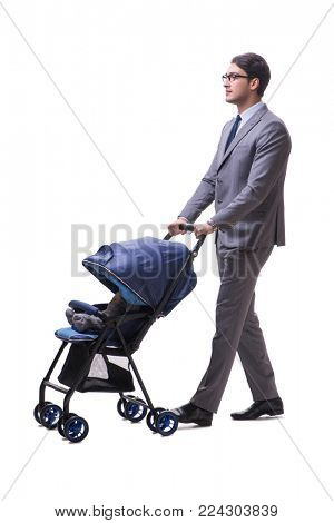 Young businessman nursing child in pram isolated on white