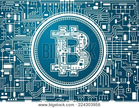 Bitcoin digital currency background. Futuristic chipset technology network concept. Vector blue horizontal illustration.