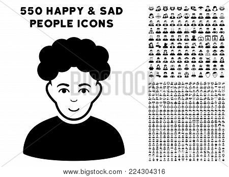 Brunet pictograph with 550 bonus pity and glad men pictures. Vector illustration style is flat black iconic symbols.