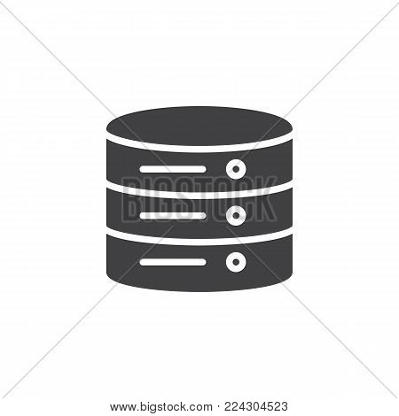 Data center icon vector, filled flat sign, solid pictogram isolated on white. Database server symbol, logo illustration.
