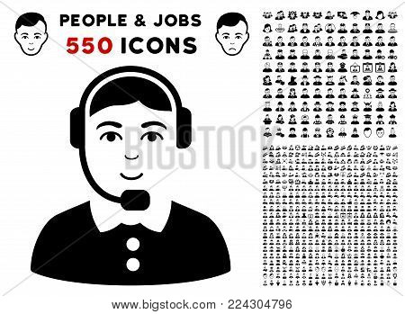 Call Center icon with 550 bonus pitiful and happy men pictures. Vector illustration style is flat black iconic symbols.