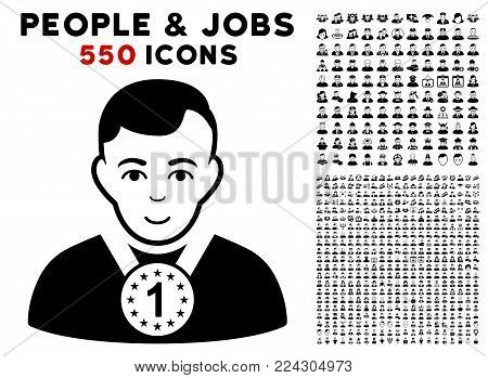 Champion pictograph with 550 bonus pity and glad men pictographs. Vector illustration style is flat black iconic symbols.