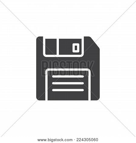Floppy disc icon vector, filled flat sign, solid pictogram isolated on white. Diskette, Save symbol, logo illustration.