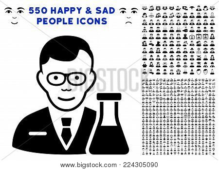 Chemist pictograph with 550 bonus pitiful and glad jobs pictograms. Vector illustration style is flat black iconic symbols.