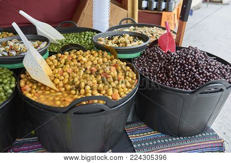 Many Corns And Chestnuts For Sale On A Market