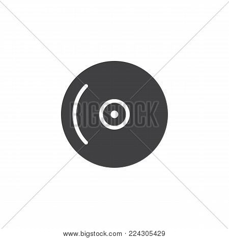 Compact disc icon vector, filled flat sign, solid pictogram isolated on white. CD, DVD symbol, logo illustration.