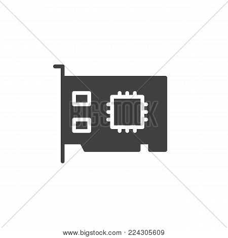 Networking card icon vector, filled flat sign, solid pictogram isolated on white. Expansion card symbol, logo illustration.