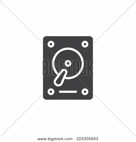 HDD icon vector, filled flat sign, solid pictogram isolated on white. Hard drive disk symbol, logo illustration.