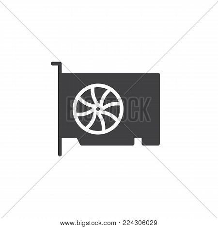 Video gpu card icon vector, filled flat sign, solid pictogram isolated on white. Graphic cards symbol, logo illustration.