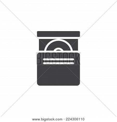 CD drive icon vector, filled flat sign, solid pictogram isolated on white. Optical compact disc drive symbol, logo illustration.