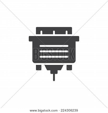 DVI cable icon vector, filled flat sign, solid pictogram isolated on white. VGA screen plug symbol, logo illustration.